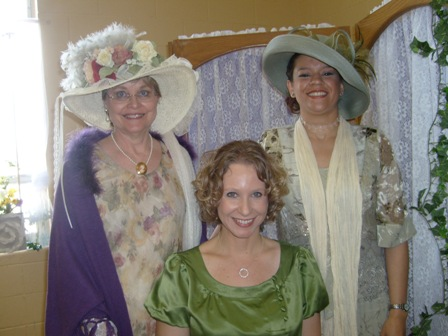 Tina Ann Forkner with readers at a Mother-Daughter Tea in Cheyenne.