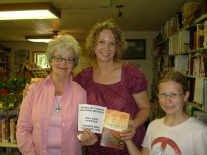 Tina with the manager of the Talbot Museum in Colcord, Oklahoma - they displayed one of my books.