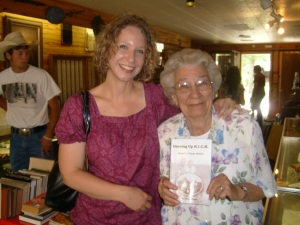 Tina Ann Forkner with local Colcord, Oklahoma Author and Friend, Jean Hurt.