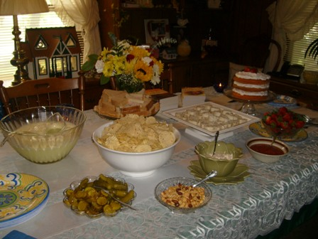 The Lovely Spread at the Burgess Home in Welch, Oklahoma During the Reception.